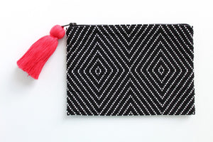 Geo Black and White Glass Bead Clutch