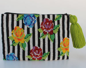 Stripe Flower Glass Bead Clutch