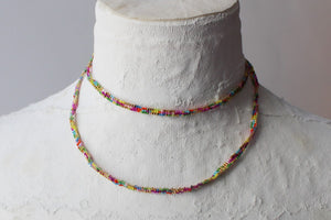 Random Beaded Necklace  or Wrap Bracelet