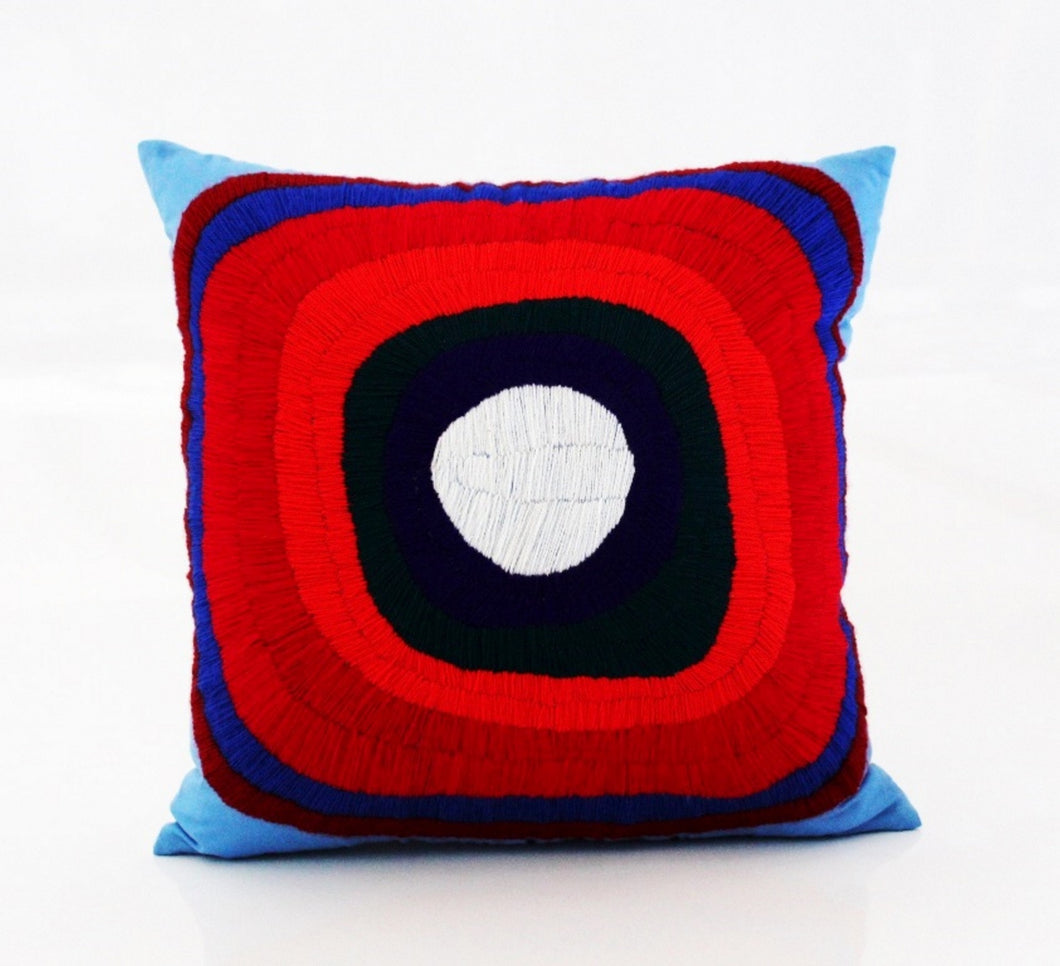 Embroidered pillow cover - Circles