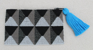 Black and Gray Bead Coin Purse