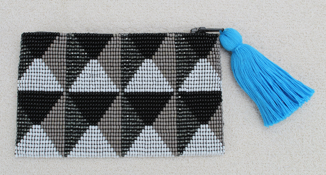 Glass Bead Coin Purse, Black and Gray