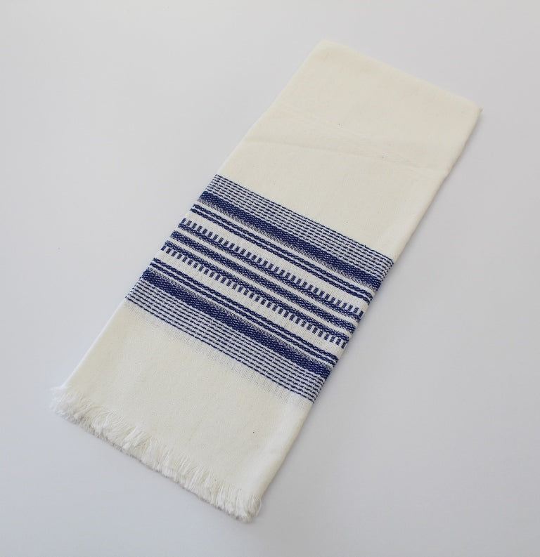 Blue on White cotton napkins - cotton handwoven napkins -  cotton napkins blue color on white 18