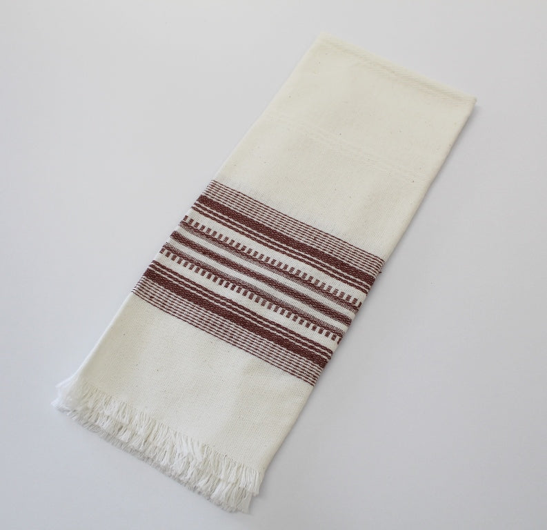 Brown on White Cotton Tea Towels - cotton handwoven Tea Towels with brocade accent -  cotton tea towels 23
