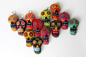 Wool Small Skull Keychain - Set of 12