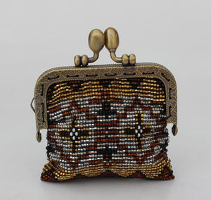 Glass bead coin purse with metal frame - Brown Gold