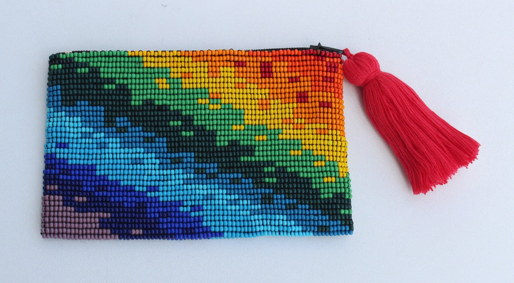 Rainbow Glass Bead Coin Purse