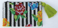Load image into Gallery viewer, Stripe Flower Glass Bead Clutch