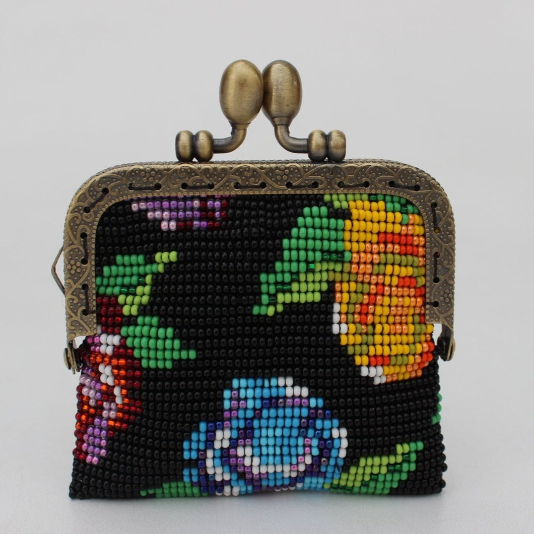 Glass Bead Coin Purse With Metal Frame - Flowers