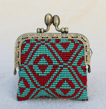 Load image into Gallery viewer, Glass Bead Coin Purse With Metal Frame - Teepee