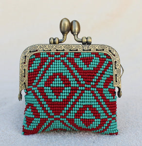 Glass Bead Coin Purse With Metal Frame - Teepee