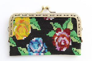 Beaded Flower Purse with Metal Frame and Clasp