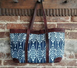 Tote Bag with Leather Straps and Accents