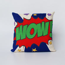 "Load image into Gallery viewer, Pop art pillow – WOW 16"" x 16"""