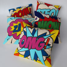 Load image into Gallery viewer, Pop art pillow – OMG 16 x 16