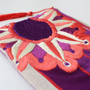 Embroidered Cosmetic Bag - Purple