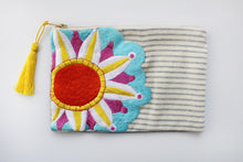 Load image into Gallery viewer, Embroidered Cosmetic Bag - Stripe Denim