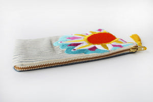 Embroidered Cosmetic Bag - Stripe Denim