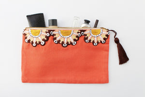 Embroidered Cosmetic Bag - Coral