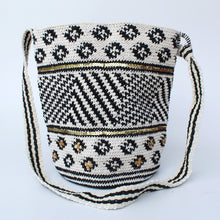 Load image into Gallery viewer, Cotton Crochet Tote – Black and White Diamonds