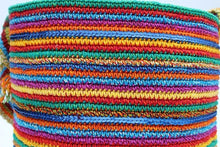 Load image into Gallery viewer, Cotton Crochet Tote - Stripe Multicolor details