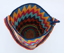 Load image into Gallery viewer, Cotton Crochet Tote – Zig Zag Multicolor open