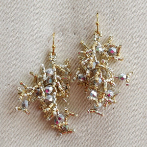 Crystal Firecracker Earrings Silver