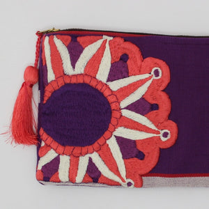Embroidered Cosmetic Bag - Purple details