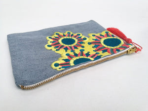 Embroidered Cosmetic Bag - Recycled Denim close