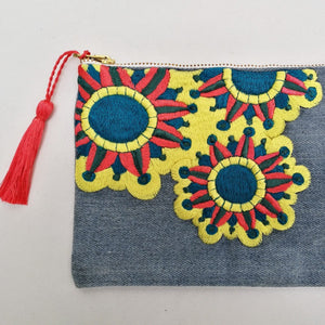 Embroidered Cosmetic Bag - Recycled Denim details