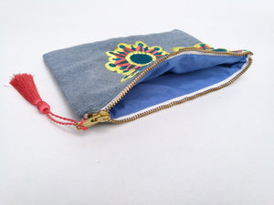 Embroidered Cosmetic Bag - Recycled Denim open