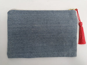 Embroidered Cosmetic Bag - Recycled Denim reverse