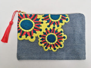 Embroidered Cosmetic Bag - Recycled Denim