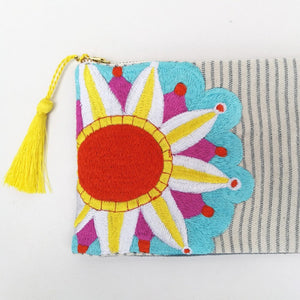 Embroidered Cosmetic Bag - Stripe Denim details
