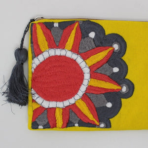 Embroidered Cosmetic Bag - Yellow details