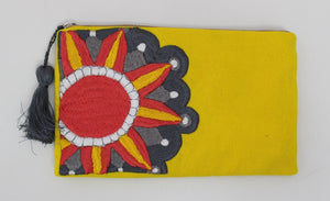 Embroidered Cosmetic Bag - Yellow