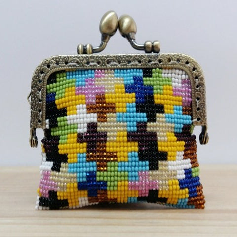 Glass Bead Coin Purse With Metal Frame – Siena