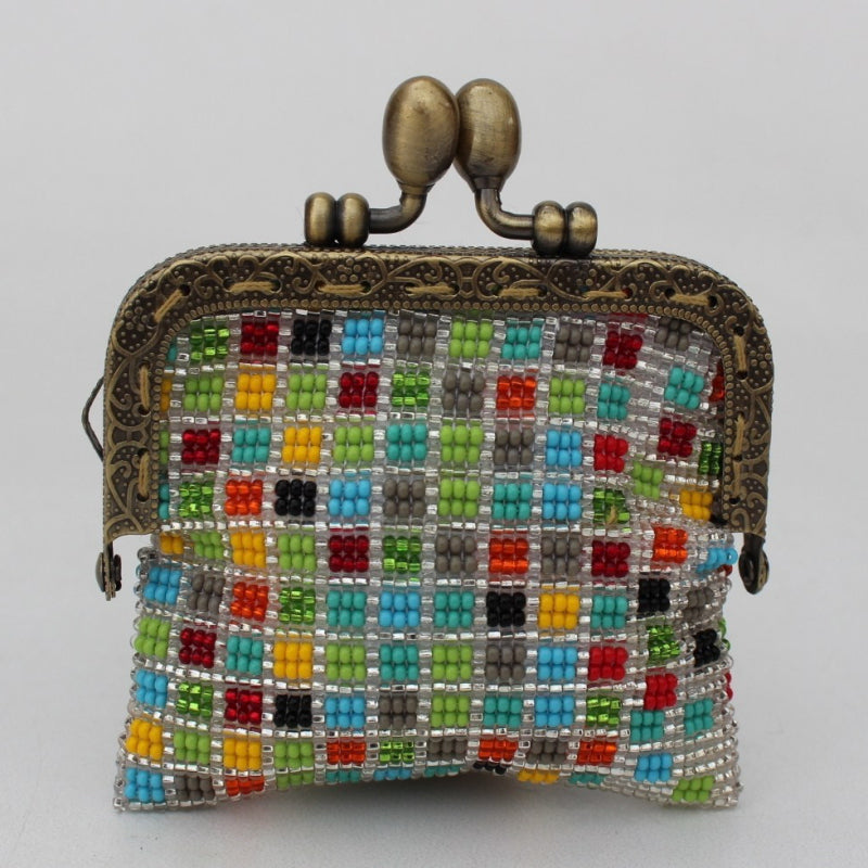 Glass bead coin purse with metal frame