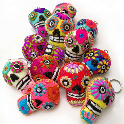 Wool Skull Keychain - Small Set of 12