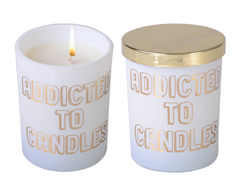 Less Chat White Candle- Addicted To Candles