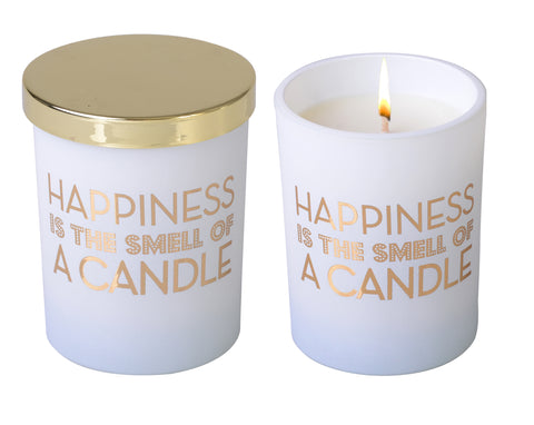 Less Chat White Candle - Happiness Is The Smell Of A Candle