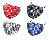 MASKiT Pack of 4 Reusable Washable Polka Dot Face Mask with PM2.5 Filters
