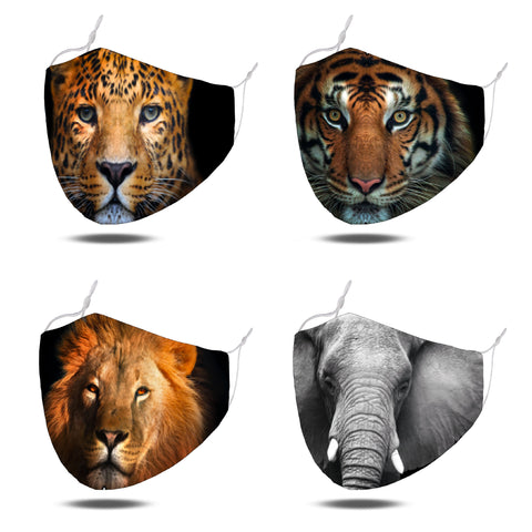 MASKiT Pack of 4 Reusable Washable Safari Print Face Mask with PM2.5 Filters