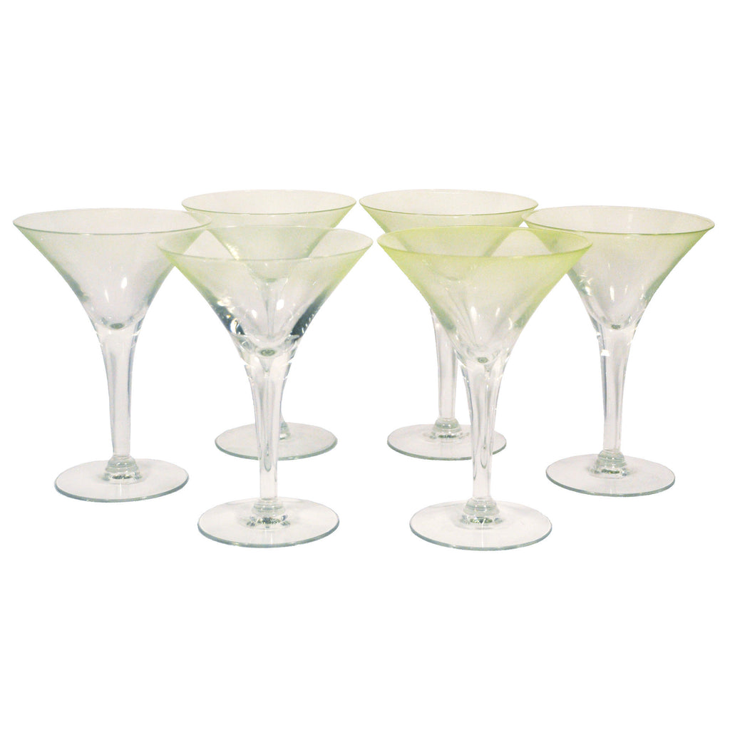 Vintage Dorothy Thorpe Green Frosted Martini Glasses, The Hour