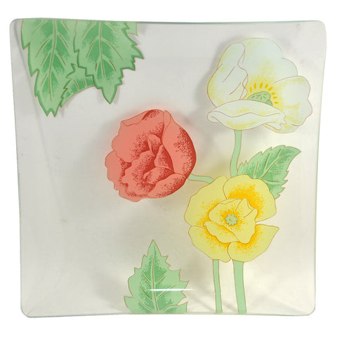 3 Flower Square Bent Glass Tray