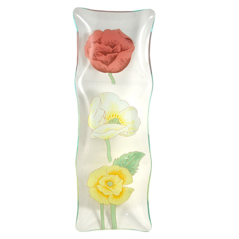 3 Flower Sectioned Bent Glass Tray