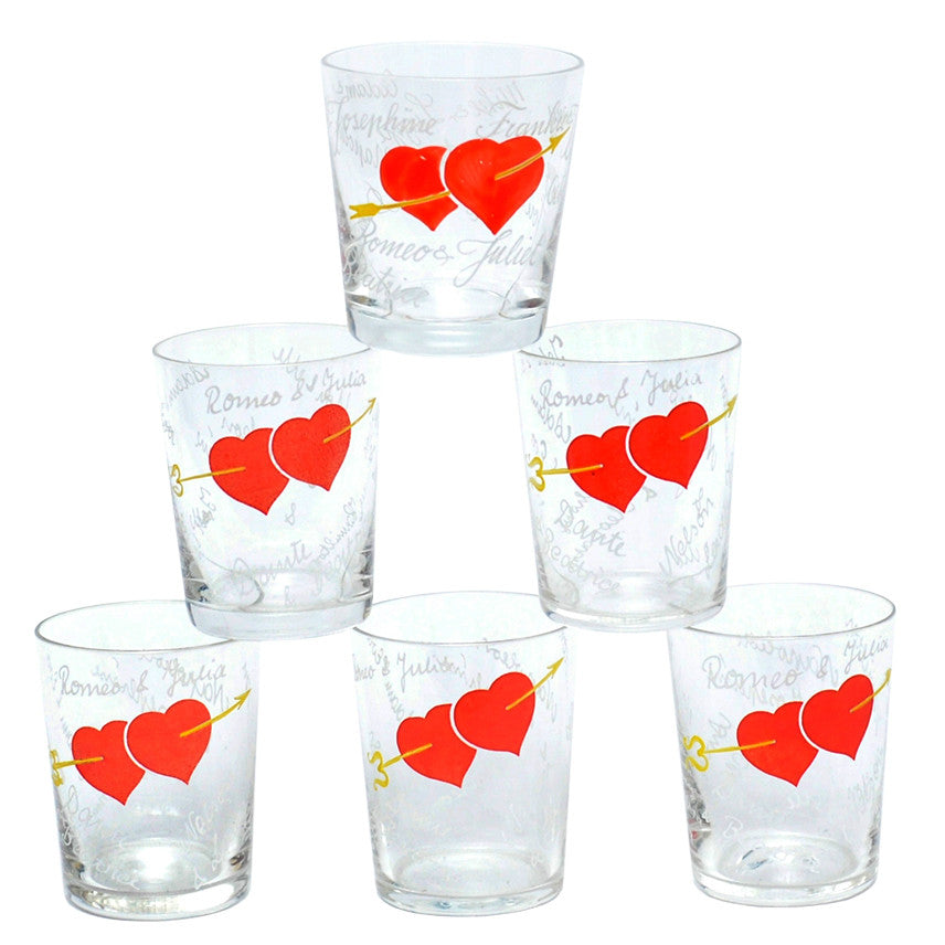 Hand Painted Hearts Old Fashioned Glasses, The Hour Shop Vintage Cocktail Glasses