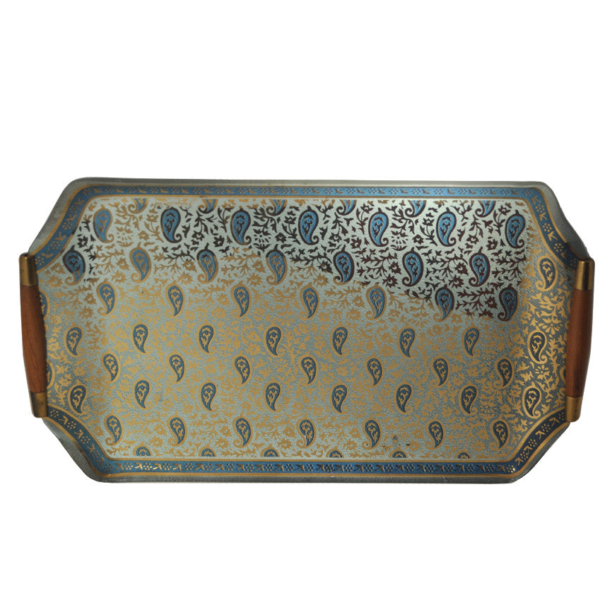 G. Briard Blue & Gold Paisley Glass Tray, The Hour Shop