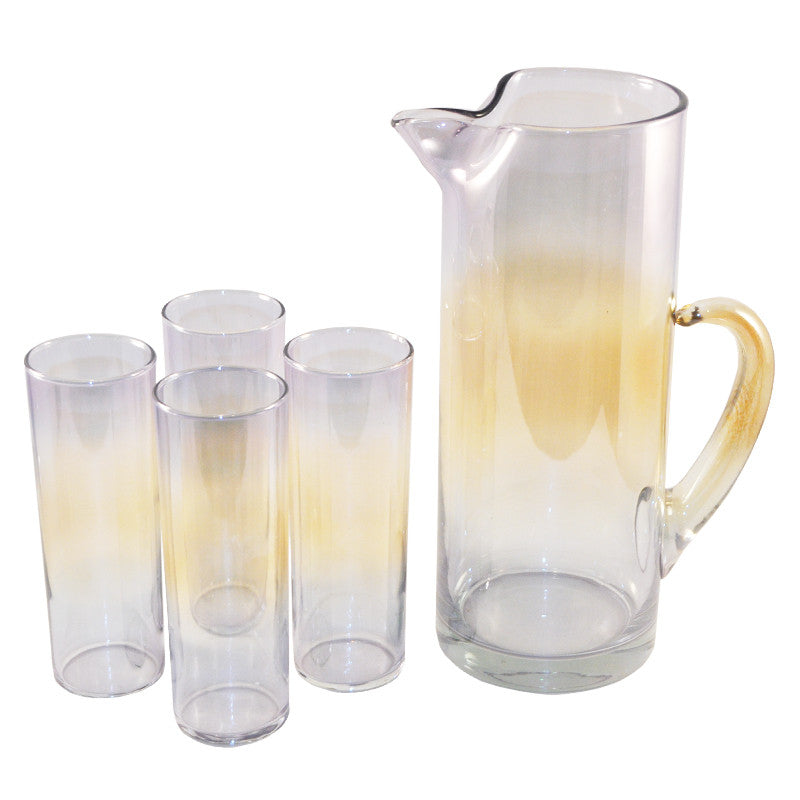 Rainbow Iridescent Cocktail Pitcher Set, The Hour Shop Vintage Barware and Glassware
