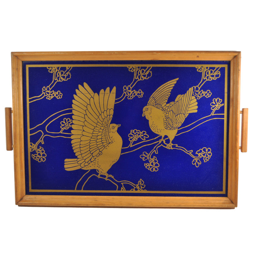 Reverse Painted Two Gold Doves Tray, The Hour Shop